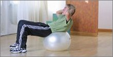 stomach ab exercises: Crunch on Exercise Ball